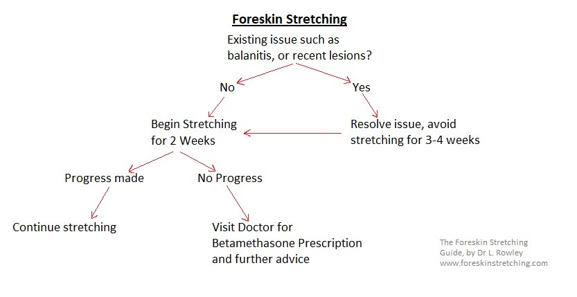 A flow chart, to check whether foreskin stretching is a suitable option
