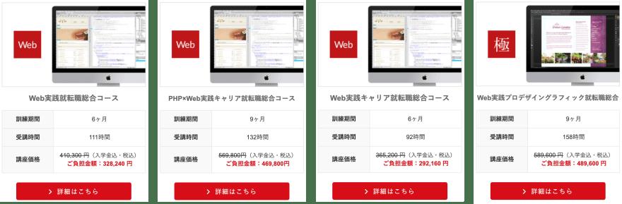KENスクールの全Webデザインコースと概要