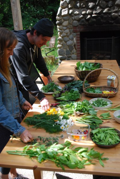 Jesse and Cedana survey the produce