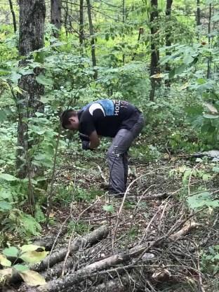 Glenn chopping Firewood