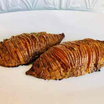 Vegan Hasselback Sweet Potatoes