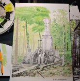 Steam donkey, wip, watercolor, watercolour, mixed media, pen and ink