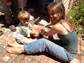 Making mud pies with clay slip