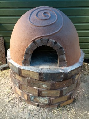 Finished hemp clay oven with decoration