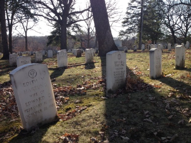 The graves of  Edith and Edward C. Hartung in Soldiers Rest. Photo by Joanna Wilson.