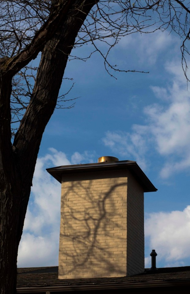 The crematory chimney at Cress Funeral Center on University Avenue. Photo by Brad Baranowski.