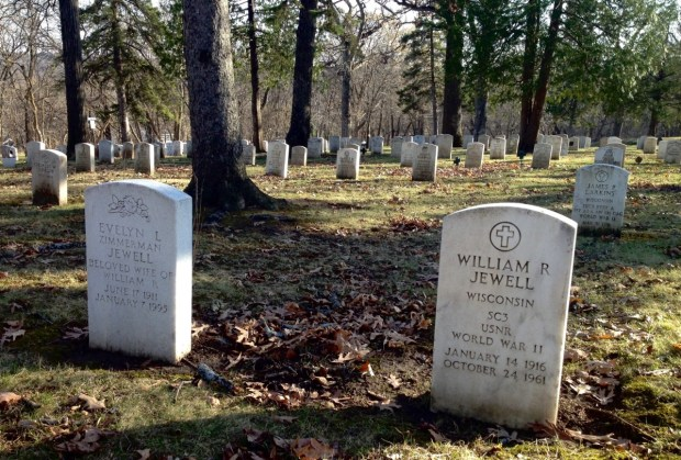 "The graves of William Jewell and his ""Beloved Wife"" Evelyn in Soldiers Rest. Photo by Joanna Wilson."