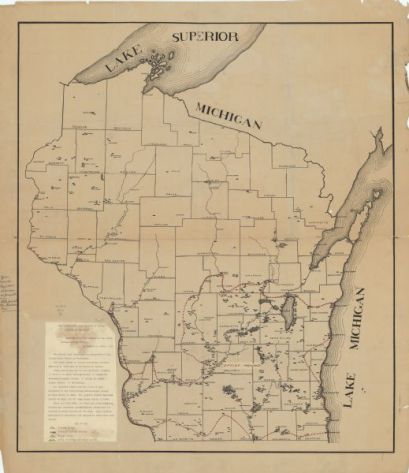 Map Showing the Distribution of Mound Groups in Wisconsin, 1916. Wisconsin Historical Society Image 92138. In 1916 Charles E. Brown created this map depicting the distribution of mound groupings in Wisconsin. Note the particularly large number of mounds in the Four Lakes region.