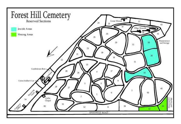 Map of Hmong and Jewish sections of Forest Hill cemetery.