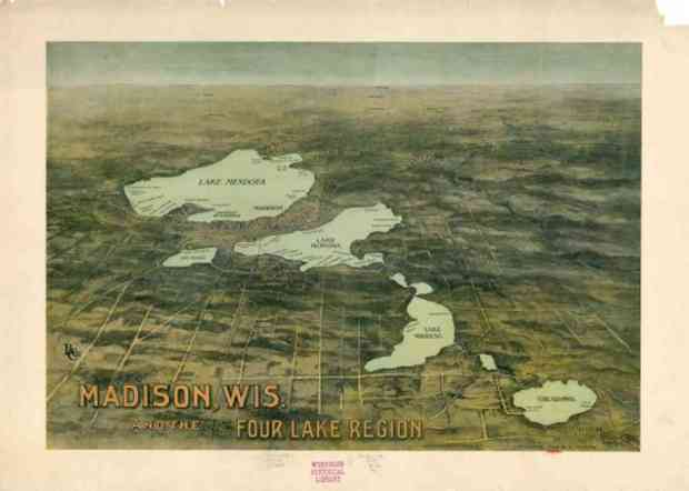This 1909 map shows Madison, the four large lakes that gave the region its name. It also shows several smaller lakes, including Lake Wingra, the small lake at the left.