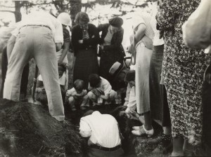 Members of the Wisconsin Outing Club watch the excavation of a burial mound at the Outlet group in 1935. Wisconsin Historical Society Image 38954. Many mounds were lost to amateur excavation, which was a popular weekend activity before laws like the Native American Graves Protection and Repatriation Act  were established to protect mounds.
