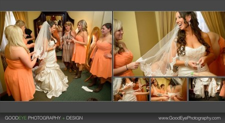 bridesmaid fixing bride's gown