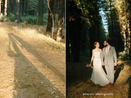 wedding bride and groom casually walking in the forest for pictorial