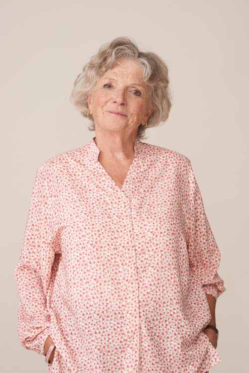 forestime vetement senior moderne blouse imprimé rose thelma