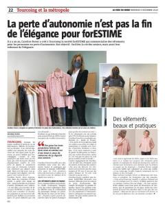 forESTIME vêtement senior article de la voix du nord du 09 Décembre 2020