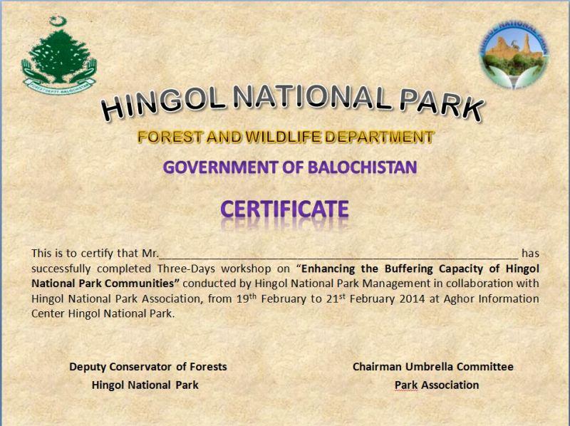 (Workshop) Buffering Capacity of Hingol National Park - Certificate
