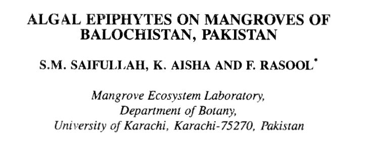 Algal Epiphytes on Mangroves of Balochistan Pakistan (Report)