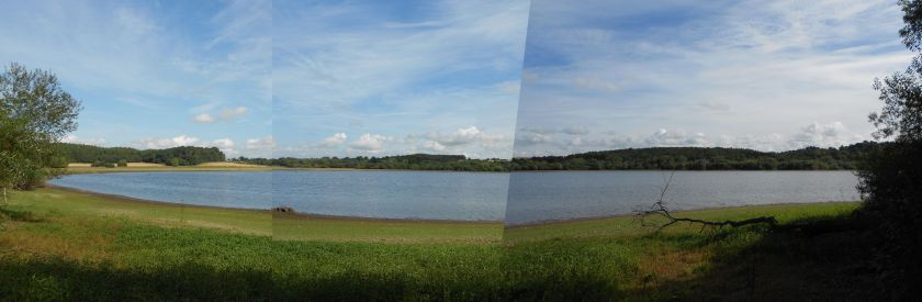 Panoramic view of reservoir from the education hide on the edge of the wood.