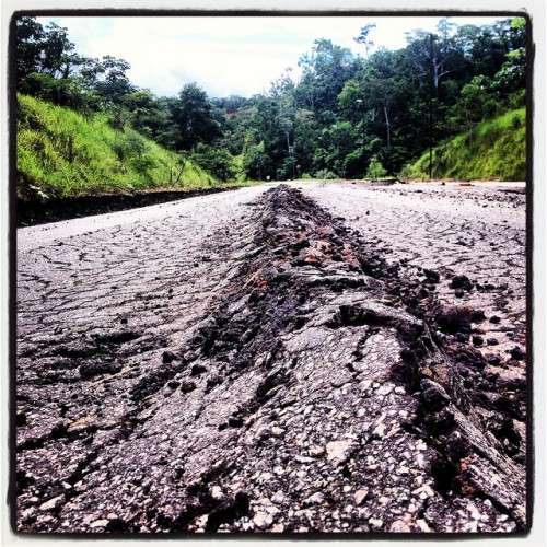 Road to Brazil damaged by a earthquake.   Photo by Marco Simola for Center for International Forestry Research (CIFOR).