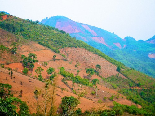 Patchwork mountain landscape of agriculture, forestry, and deforested terrain, Tianlin County, Guangxi Zhuang Autonomous Region, China.   Photo by Nick Hogarth for Center for International Forestry Research (CIFOR).