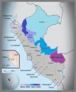 La medida en que las competencias ambientales han sido transferidas varía de región en región. Cada una cuenta con una Dirección Regional de Agricultura (Mapa original de Douglas/flickr).