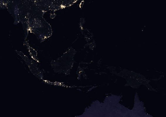 Eastern Indonesia, satellite night image, light map, eastern indonesia in darkness, biofuel, bioenergy