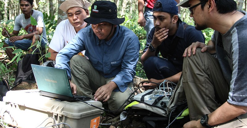 Scholars look at a laptop screen in the Indonesian peatlands