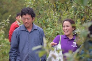 Mr Giang Giong Vua, farmer, and Ms Delia Catacutan, ICRAF country coordinator, in the 'son tra' tree garden. Photo: World Agroforestry Centre/Pham Duc Thanh