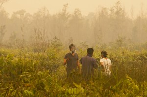 David Gaveau, CIFOR Scientist explains that fires are burning on degraded lands, previously the site of the 1997 forest fires. Palangka Raya, Central Kalimantan. Photo: Aulia Erlangga/ CIFOR