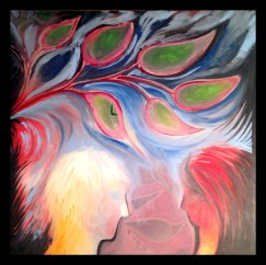 Love is Free, 3x3', Oil on Canvas, $1,950.00 - To purchase call Mitra 805-455-6004