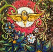 "Moon Bird, 20x20"", Mixed Media Paint on Canvas, $585.00 - To purchase call call Mitra 805-455-6004"