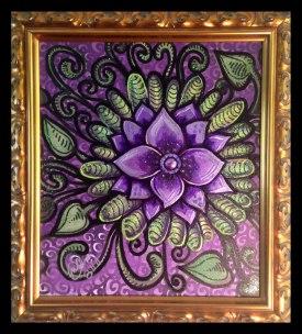 "Purple Jewel Flower- 19x22""- Mixed Media on Canvas Print"