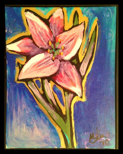 "Purple Lily, 16x20"", Acrylic on Canvas Board, $130.00 - To purchase call Mitra 805-455-6004"