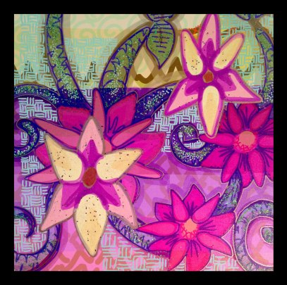 "Sea Pink Flowers, 18x18"", Mixed Media on Canvas Print, $260.00 - To purchase call Mitra 805-455-6004"