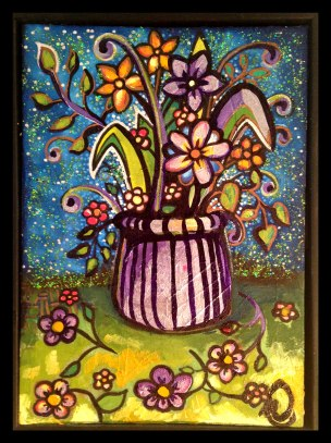 "Still Life Flowers, 8x12"", Mixed Media on Canvas Board, $227.50 - To purchase call Mitra 805-455-6004"
