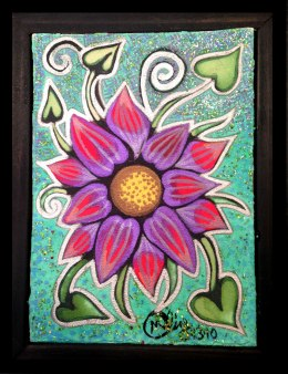 "Water Flower, 4x6"", Mixed Media Paint on Canvas Board, $97.50 - To purchase call Mitra 805-455-6004"