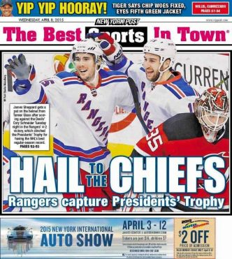 Rangers win President's Trophy (NY POST backpage)