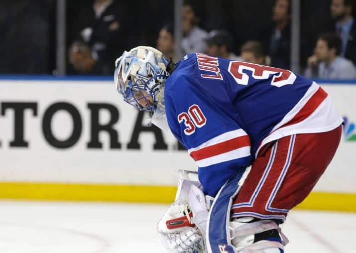 Lundqvist looks down ((AP Photo/Frank Franklin)
