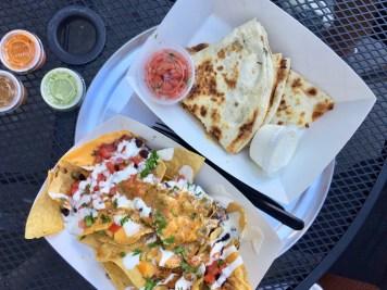 Nachos & Chicken Quesadilla w/ Onions & Mushrooms