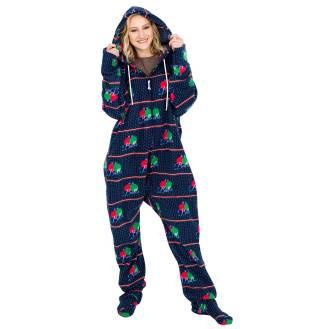 Balls Ugly Christmas Lazy Black Pajama Suit with Hood