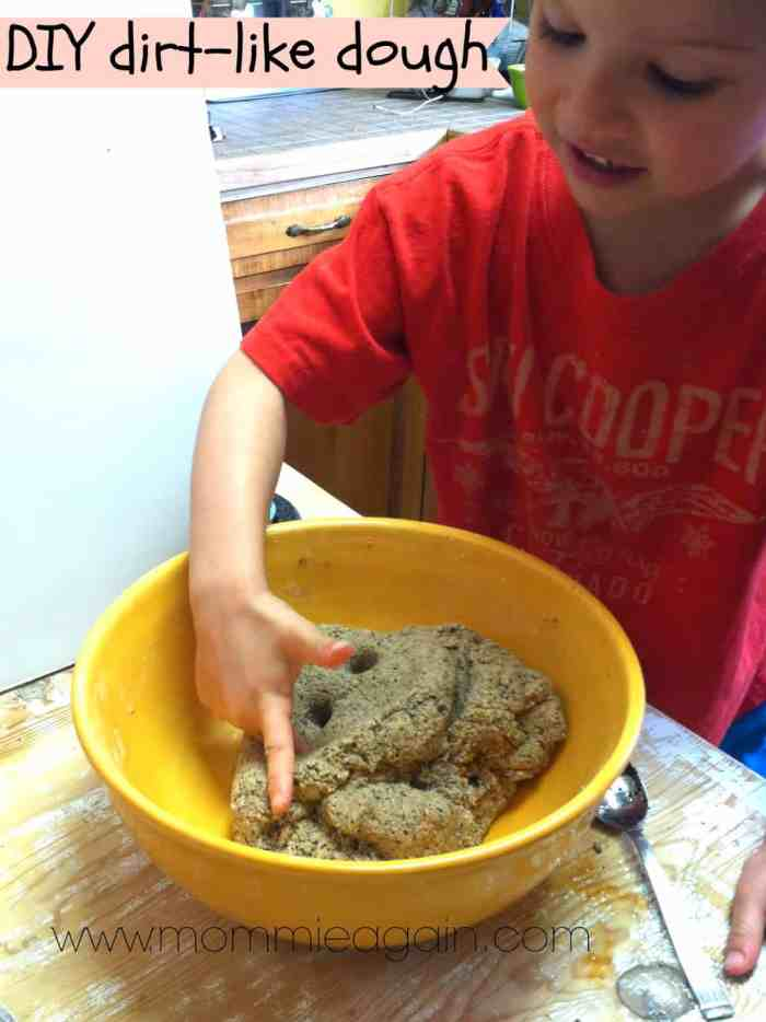 DIY Activity for Kids - Dirt Dough (uncooked playdough)