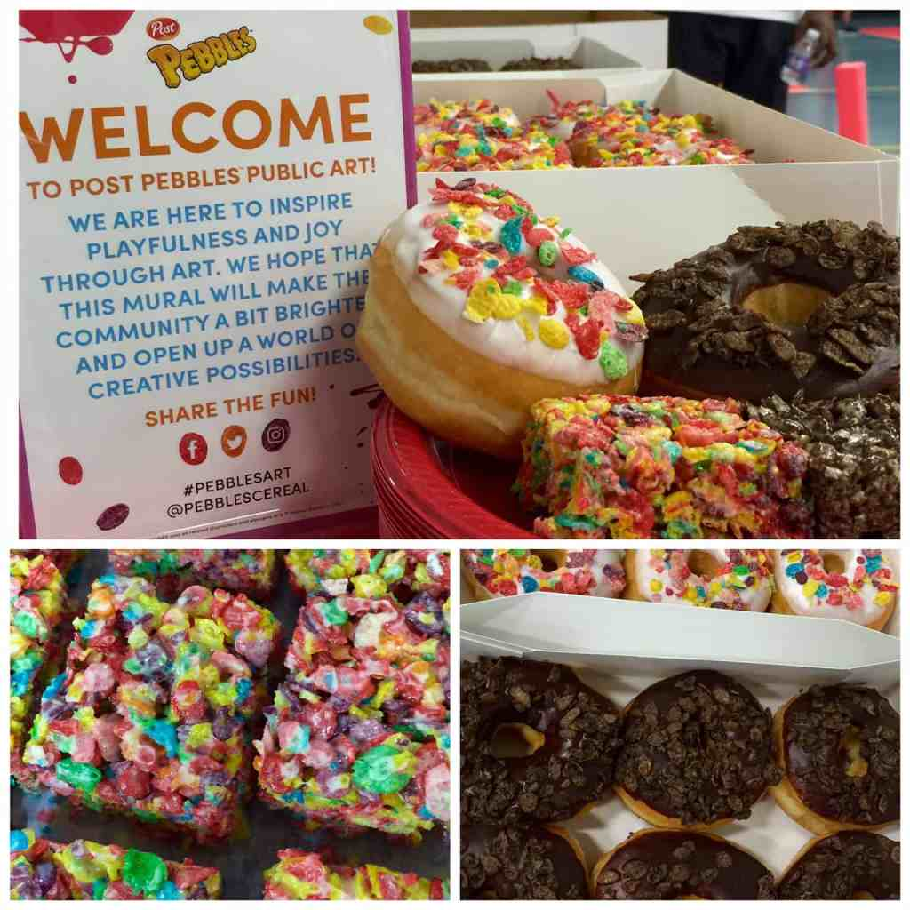 donuts and rice crispy treats sprinkled with cocoa and fruity pebbles cereal