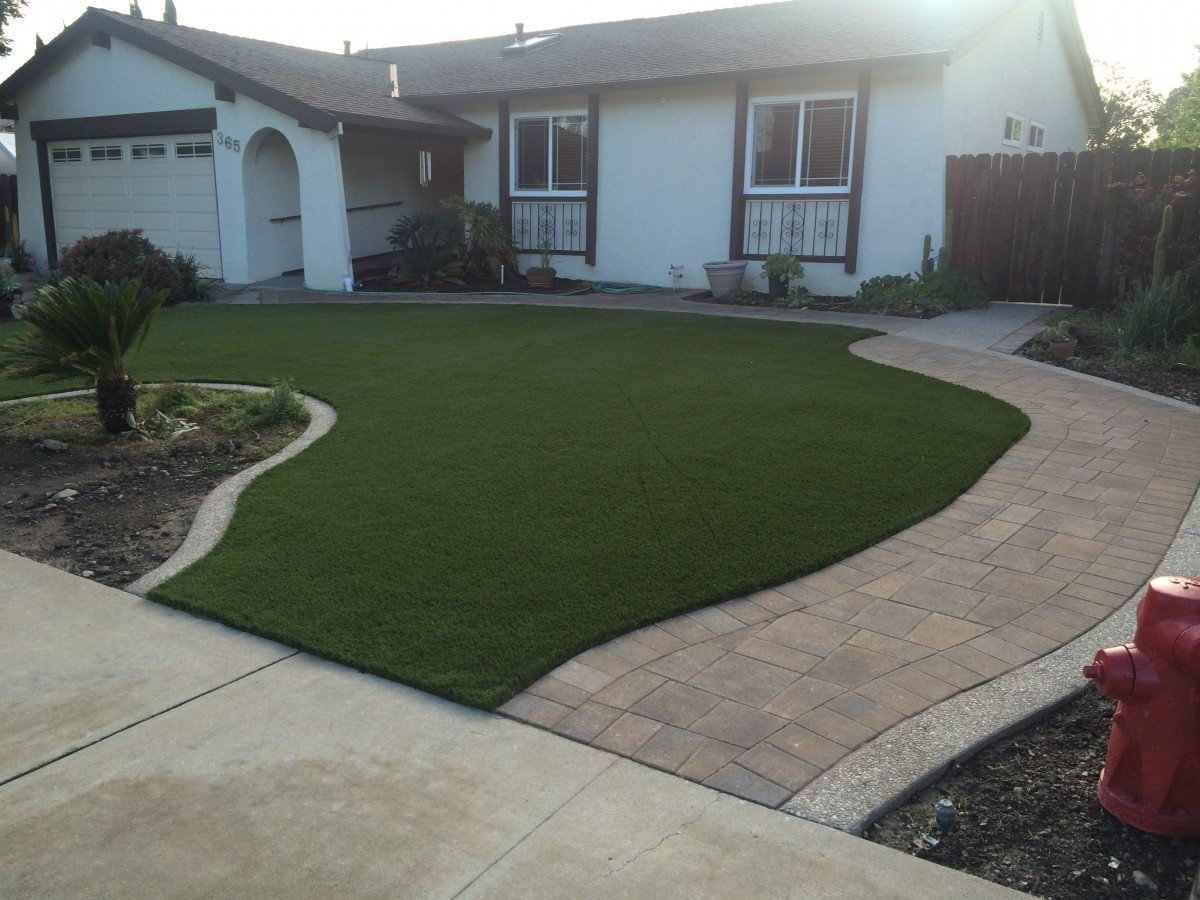 Livermore, CA - Front Yard Synthetic Grass & Pavers ... on Backyard Pavers And Grass Ideas id=87935