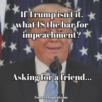If Trump isn't it, what IS the bar for impeachment? Asking for a friend...