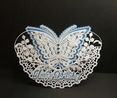 SVG File Template Butterfly Rocker Card 413