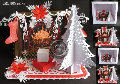 SVG File Template 3D Christmas Firelpace Easel Amp Box 469