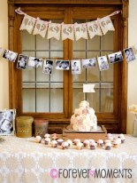 Vintage Themed Photo & Buffet Banner. Rose Cake & Cupakes