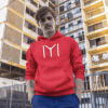 young fella wearing a pullover hoodie while hanging out at the city mockup a13609