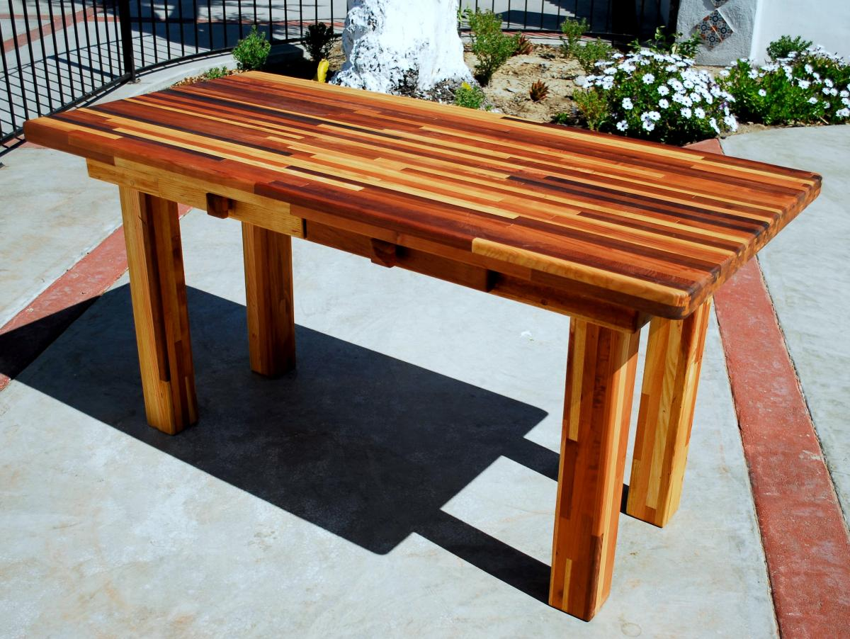 Redwood Patio Table: Custom Made Redwood Dining Tables