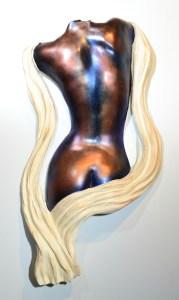 female back sculpture draped